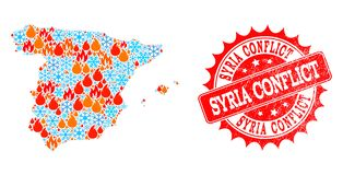Mapa de mosaico de España de la llama y de la nieve y del sello rasguñado conflicto de Siria stock de ilustración