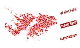 Mapa de mosaico de Falkland Islands y del collage rasguñado del sello de la escuela stock de ilustración