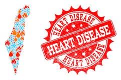 Mapa de mosaico de Israel de la llama y de la nieve y del sello de la desolación de la enfermedad cardíaca libre illustration