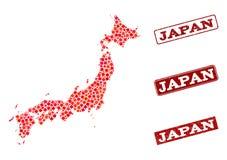 Mapa de mosaico de Japón y apenar la composición del sello de la escuela libre illustration