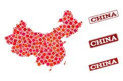Mapa de mosaico de la composici?n del sello de China y de la escuela del Grunge stock de ilustración
