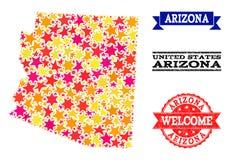 Mapa de mosaico de la estrella del estado y de los sellos de goma de Arizona stock de ilustración