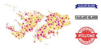 Mapa de mosaico de la estrella de Falkland Islands y de sellos de goma ilustración del vector