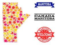 Mapa de mosaico de la estrella de las filigranas de la provincia y del Grunge de Manitoba libre illustration