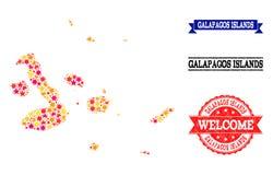 Mapa de mosaico de la estrella de las islas de las Islas Galápagos y de los sellos del Grunge stock de ilustración