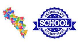 Mapa de mosaico de la isla de Grecia - de Andros y del collage texturizado del sello de la escuela ilustración del vector