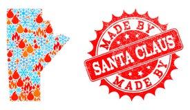Mapa de mosaico de la provincia de Manitoba de la llama y de la nieve y hecha por Santa Claus Scratched Stamp stock de ilustración