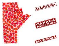 Mapa de mosaico de la provincia de Manitoba y de la composición del sello de la escuela del Grunge stock de ilustración