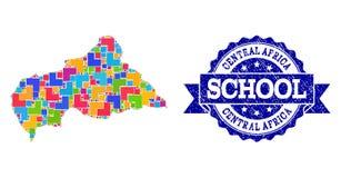Mapa de mosaico de la Rep?blica Centroafricana y de la composici?n texturizada del sello de la escuela ilustración del vector