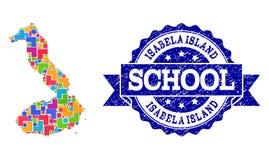 Mapa de mosaico de las Islas Galápagos - Isabela Island y apenar el collage del sello de la escuela stock de ilustración