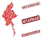Mapa de mosaico de Myanmar y de la composición rasguñada del sello de la escuela libre illustration