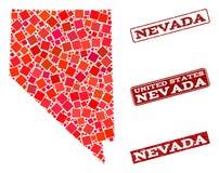 Mapa de mosaico de Nevada State y apenar el collage del sello de la escuela libre illustration