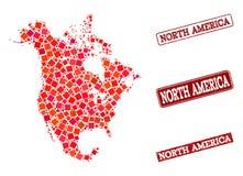 Mapa de mosaico de Norteamérica y de la composición texturizada del sello de la escuela libre illustration