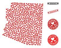 Mapa de mosaico precioso de los sellos del estado y del Grunge de Arizona para las tarjetas del día de San Valentín stock de ilustración