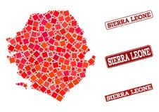 Mapa de mosaico de Serra Leoa e da colagem riscada do selo da escola ilustração do vetor