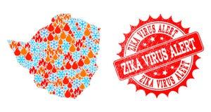 Mapa de mosaico de Zimbabwe del fuego y de copos de nieve y del sello rasguñado alarma del virus de Zika libre illustration