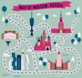 Mapa de Moscú, Rusia stock de ilustración