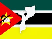 Mapa de mozambique Imagens de Stock Royalty Free