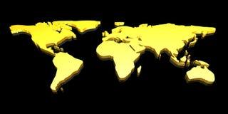 Mapa de mundo 3D dourado Imagens de Stock Royalty Free