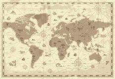 Mapa de mundo antigo Imagens de Stock