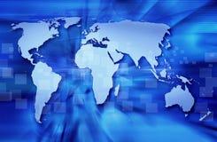Mapa de mundo azul Fotos de Stock Royalty Free