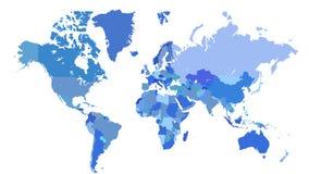 Mapa de mundo azul Imagem de Stock