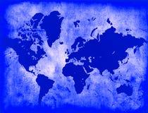 Mapa de mundo azul Imagens de Stock