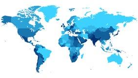 Mapa de mundo azul com países Fotos de Stock Royalty Free