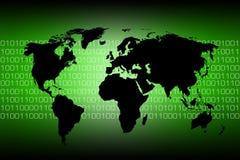 Mapa de mundo - código binário Imagem de Stock Royalty Free