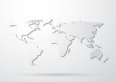 Mapa de mundo cinzento Imagens de Stock