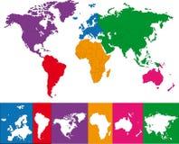 Mapa de mundo colorido fotografia de stock