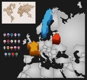 Mapa de mundo com bandeiras Fotos de Stock