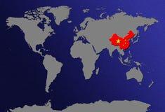 Mapa de mundo com bandeiras Fotografia de Stock Royalty Free