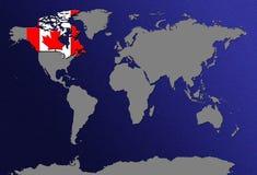 Mapa de mundo com bandeiras Fotos de Stock Royalty Free