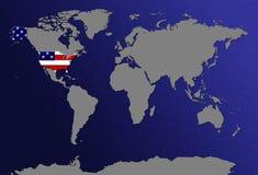 Mapa de mundo com bandeiras Imagens de Stock Royalty Free