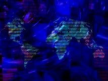 Mapa de mundo com código binário Fotografia de Stock Royalty Free
