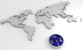 Mapa de mundo com compasso Foto de Stock Royalty Free