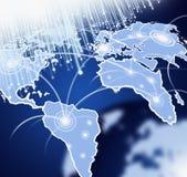 Mapa de mundo com fibras ópticas Foto de Stock
