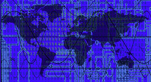 Mapa de mundo com fundo eletrônico: Vetor ilustração royalty free