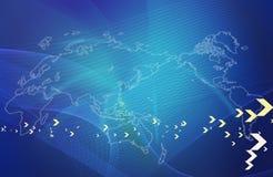 Mapa de mundo com gráficos Foto de Stock Royalty Free
