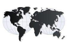 Mapa de mundo com grade ilustração stock