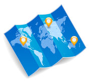 Mapa de mundo com marcas dos gps Fotografia de Stock