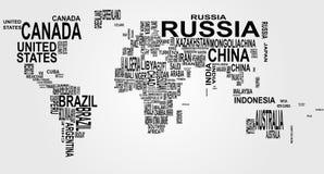 Mapa de mundo com nome de país Fotos de Stock Royalty Free