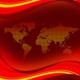 Mapa de mundo com ondas Fotos de Stock Royalty Free