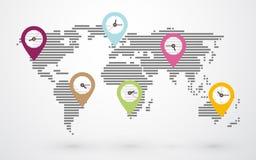 Mapa de mundo com pinos Imagens de Stock Royalty Free
