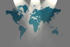 Mapa de mundo com projector Imagens de Stock Royalty Free