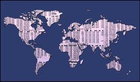 Mapa de mundo com trajeto de grampeamento Imagem de Stock
