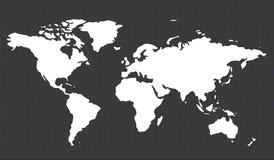 Mapa de mundo com trajeto de grampeamento ilustração do vetor