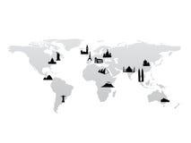 Mapa de mundo com vetor dos marcos Foto de Stock Royalty Free
