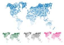 Mapa de mundo Corte continentes Ilustração do vetor Fotografia de Stock